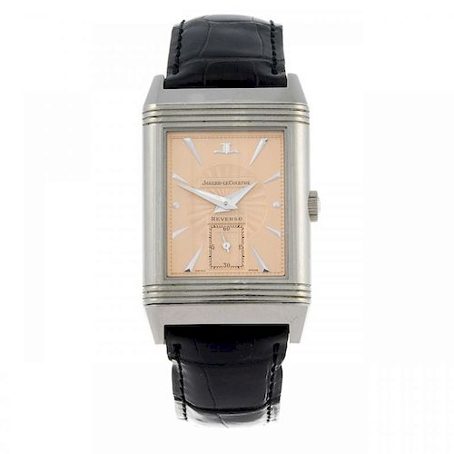 JAEGER-LECOULTRE - a lady's Reverso wrist watch. 18ct white gold reversible case with exhibition cas