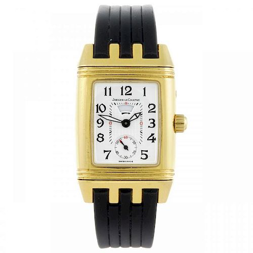 JAEGER-LECOULTRE - a lady's Reverso wrist watch. 18ct yellow gold case, factory diamond set case to