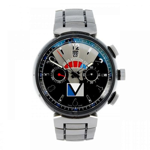 LOUIS VUITTON - a gentleman's Tambour Regatta chronograph bracelet watch. Stainless steel case. Refe