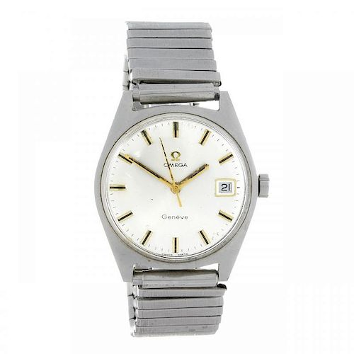 OMEGA - a gentleman's Genève wrist watch. Stainless steel case. Numbered 136.041. Signed manual wind