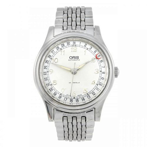 ORIS - a gentleman's bracelet watch. Stainless steel case with exhibition case back. Reference 7461.