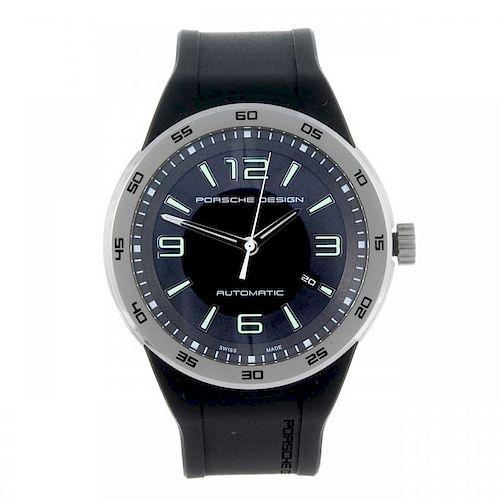 PORSCHE DESIGN - a gentleman's Flat Six wrist watch. Stainless steel case with calibrated bezel. Ref