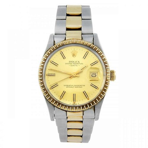 ROLEX - a gentleman's Oyster Perpetual Date bracelet watch. Circa 1981. Stainless steel case with ye