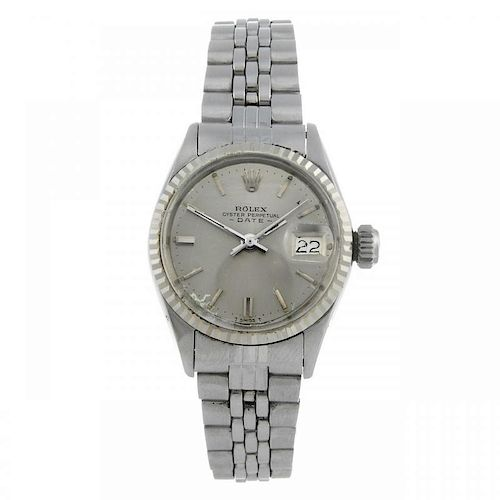 ROLEX - a lady's Oyster Perpetual Date bracelet watch. Circa 1969. Stainless steel case with white m