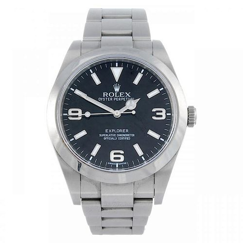 CURRENT MODEL: ROLEX - a gentleman's Oyster Perpetual Explorer bracelet watch. Circa 2009. Stainless