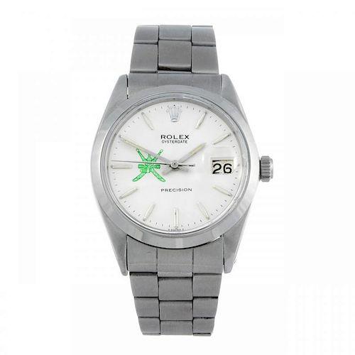 ROLEX - a gentleman's Oysterdate Precision bracelet watch. Circa 1959. Stainless steel case. Referen