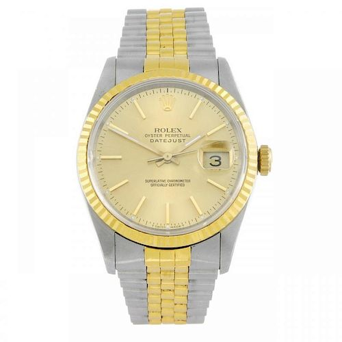 ROLEX - a gentleman's Oyster Perpetual Datejust bracelet watch. Circa 1990. Stainless steel case wit