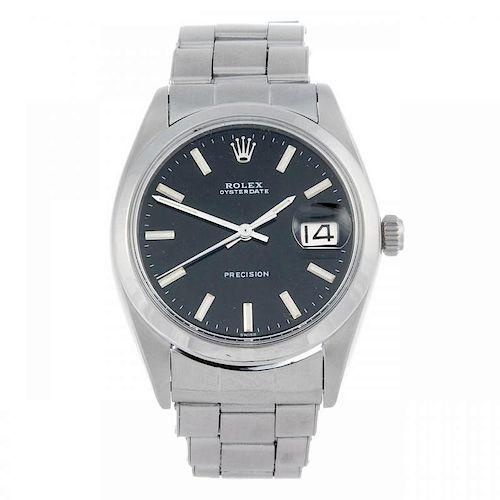 ROLEX - a gentleman's Oysterdate Precision bracelet watch. Circa 1968. Stainless steel case. Referen