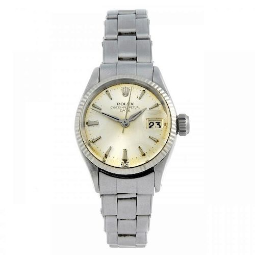 ROLEX - a lady's Oyster Perpetual Date bracelet watch. Circa 1963. Stainless steel case with white m