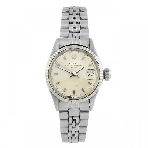 ROLEX - a lady's Oyster Perpetual Date bracelet watch. Circa 1966. Stainless steel case with white m