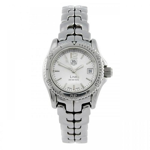 TAG HEUER - a lady's Link bracelet watch. Stainless steel case with calibrated bezel. Reference WT14