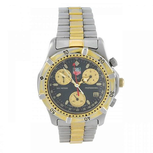 TAG HEUER - a gentleman's 2000 Series chronograph bracelet watch. Stainless steel case with gold pla