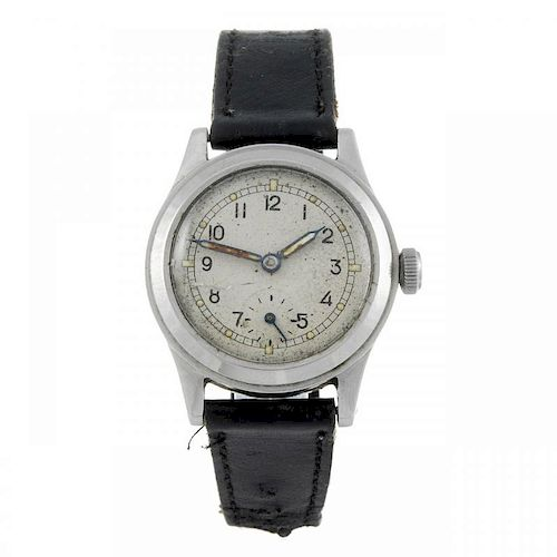 ENICAR - a gentleman's military wrist watch. Stainless steel case, stamped with British broad arrow.