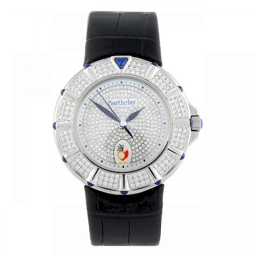 BARTHELAY - a gentleman's wrist watch. Stainless steel case with factory diamond set bezel. Referenc