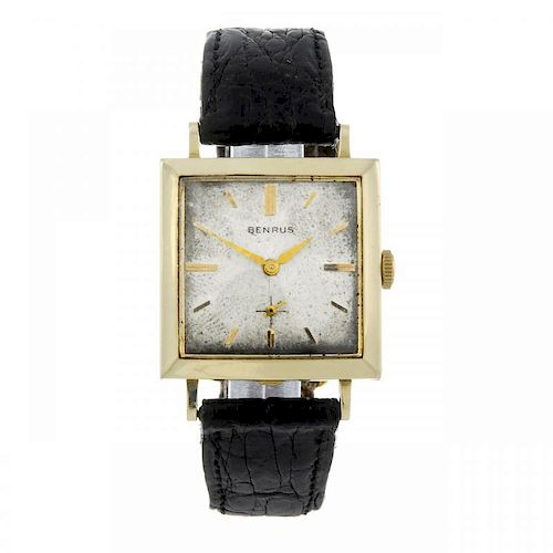 BENRUS - a gentleman's wrist watch. Yellow metal case, stamped 14K. Numbered C04171. Signed manual w