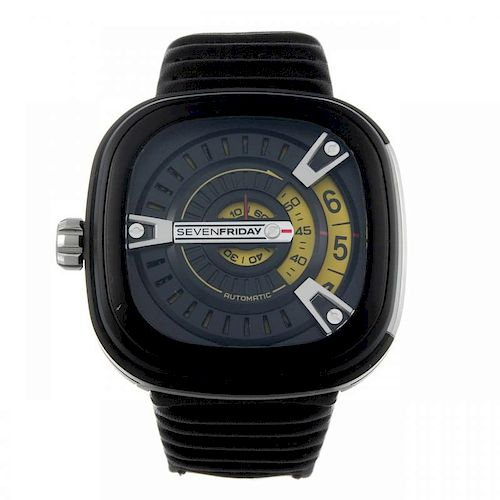 SEVENFRIDAY - a gentleman's wrist watch. PVD-treated stainless steel case. Numbered SF-M2/01-A0874.