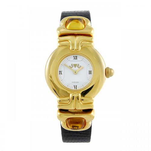 VAN DER BAUWEDE - a lady's wrist watch. Gold plated case with stainless steel case back. Unsigned qu