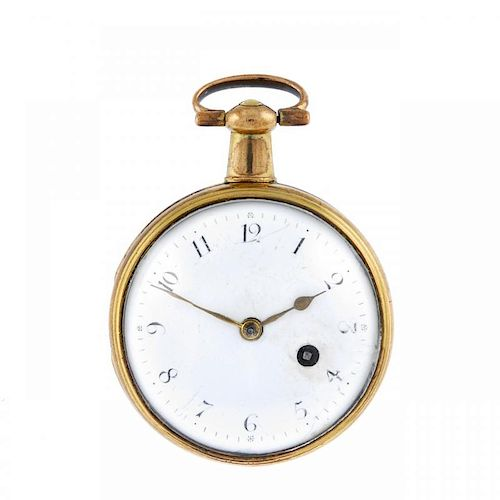An open face pocket watch by Thomas Welter. Yellow metal case. Numbered 5941. Signed key wind full p