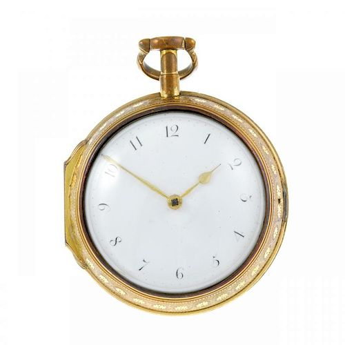 A pair case pocket watch by Dwerrihouse. Gilt cases, later outer case with enamel decoration. Signed