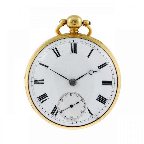 An open face pocket watch by Alexander Purvis. 18ct yellow gold case, hallmarked London 1840. Signed