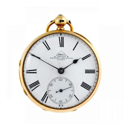 An open face pocket watch by Dent. 18ct yellow gold case, hallmarked London 1877. Numbered 39284. Si