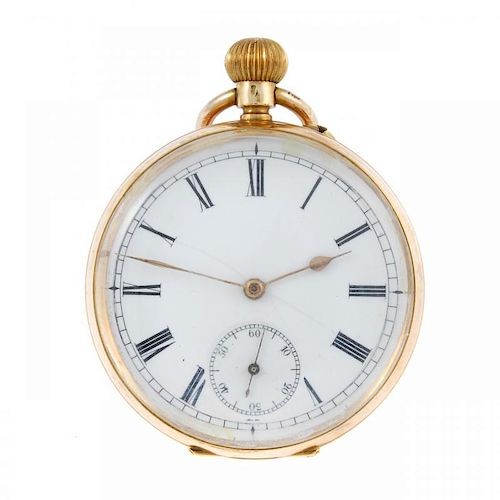 An open face pocket watch. Yellow metal case, stamped 14K with poincon. Unsigned keyless wind Swiss