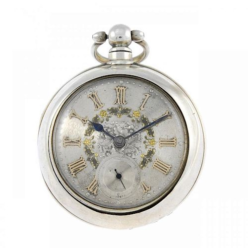 A pair case pocket watch. Silver cases, hallmarked Chester 1887. Unsigned key wind full plate fusee