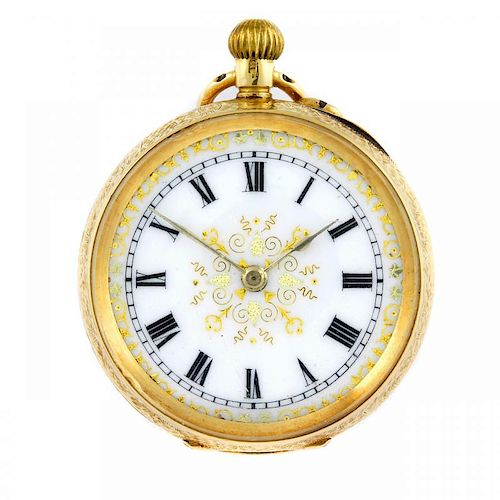 An open face pocket watch. 18ct yellow gold case, import hallmarked London 1927. Numbered 344033. Un