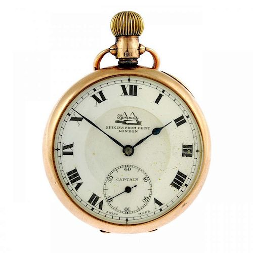 An open face pocket watch by Spikins from Dent. 9ct yellow gold case, hallmarked 1928. Numbered 9269