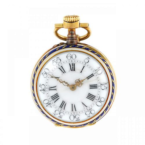 An open face pocket watch by H. Dumont. Yellow metal case with enamel case back. Number 9842. Unsign