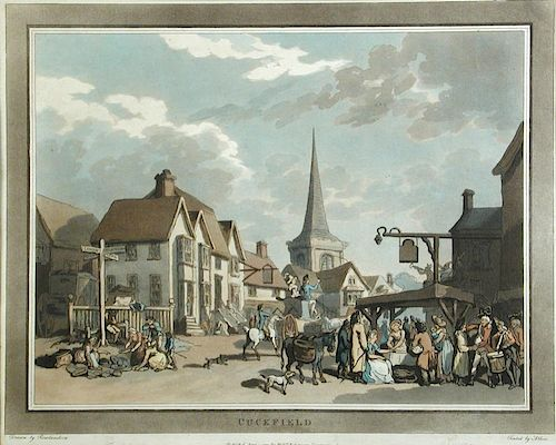 Thomas Rowlandson (1756-1827) , An Excursion to Brighthelmstone, set of 8 coloured aquatints publish
