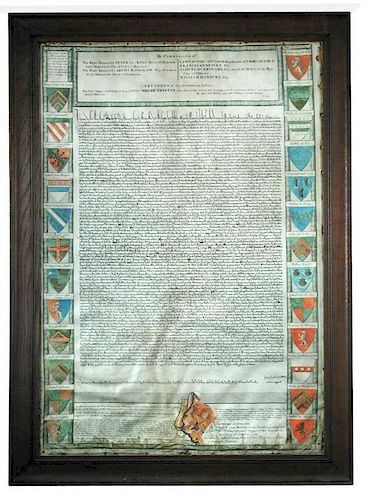 MAGNA CARTA, a facsimile engraved by John Pine, printed on vellum. Copy of King John's Great Charter