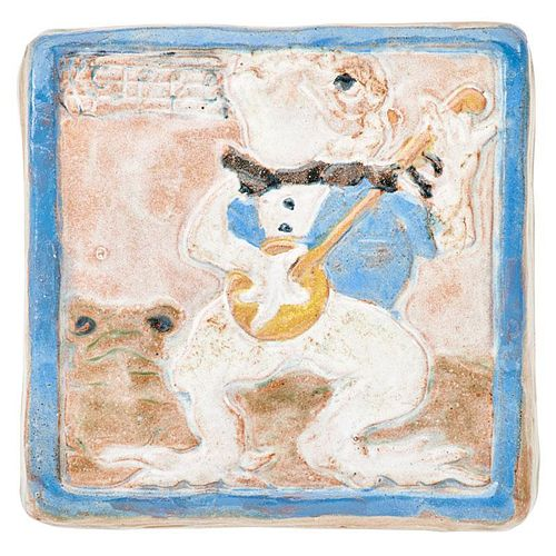 NEWCOMB COLLEGE Tile w/ frogs