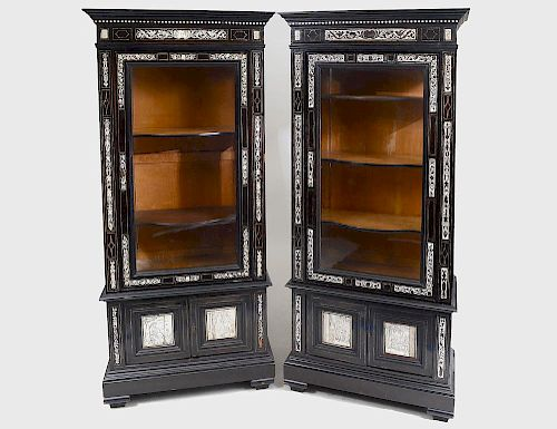 PAIR OF EBONIZED AND IVORY INLAID FLAT FRONT CABINETS