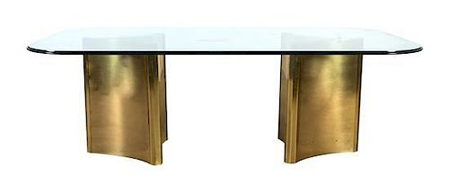 * A Mastercraft Brass and Glass Double Pedestal Table, Height 28 1/2 x width 84 x depth 48 inches.