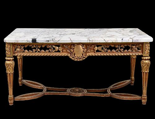 LOUIS XVI STYLE GILTWD CARVED BRECHE MARBLE TOP CONSOLE