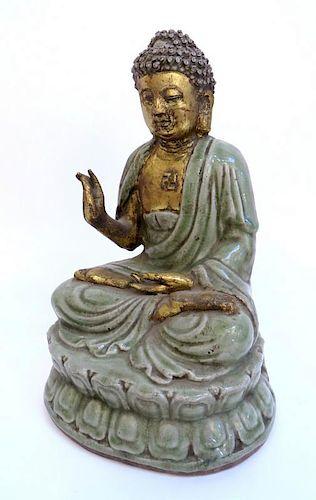 Ming Dynasty Celadon & Gold Gilt Buddha