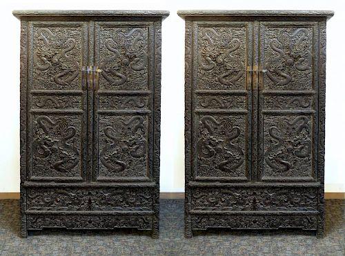 Pair Of Zitan Dragon Cabinets