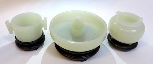 Three White Jade Incense Burners