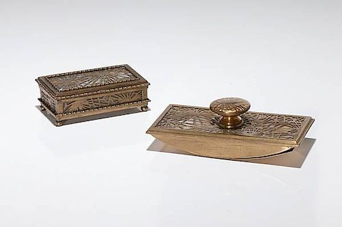 Tiffany Studios Pine Needle Stamp Box And Rocker Blotter