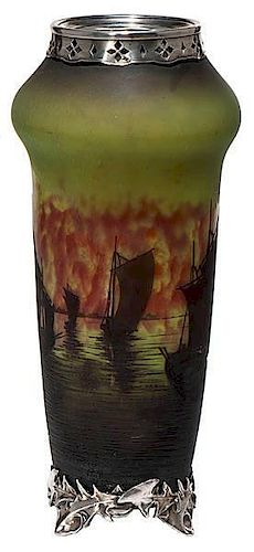 Daum Nancy Cameo Glass Vase With Silver Overlay