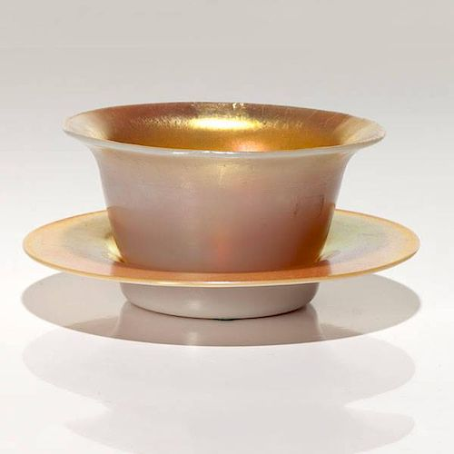 Steuben Gold Aurene and Calcite Bowl and Dish
