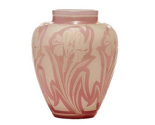 Steuben Rosaline Over Alabaster Acid Etched Vase