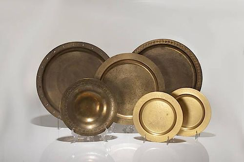 Group of Tiffany Studios Gilt Bronze Trays And Bowls
