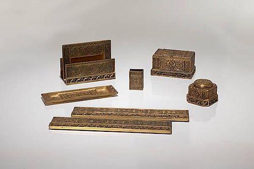 A Group of Tiffany Studios Venetian Desk Accessories