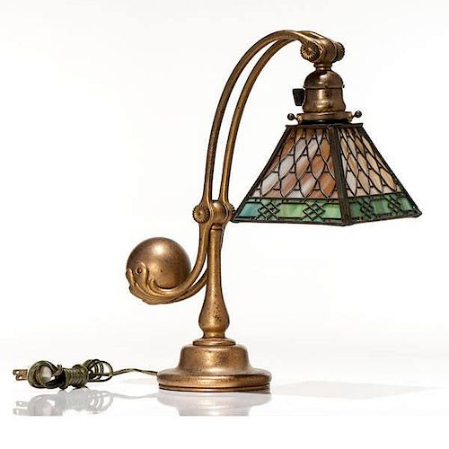 Tiffany Studios Counterbalance Desk Lamp With a Handel Shade