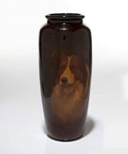 Rookwood Standard Glaze Vase With Collie, by E.T. Hurley