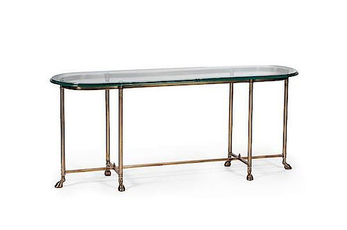 Glass Top Cocktail Table With Hoof Feet