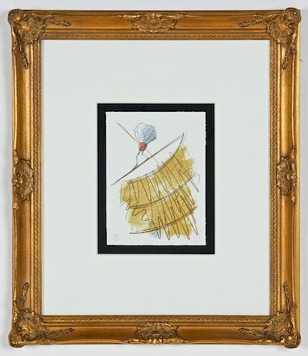 """Claes Oldenburg (American, 1929) """"Shuttlecock on a high wire, on station of the Hotel Pont-Royal"""""""
