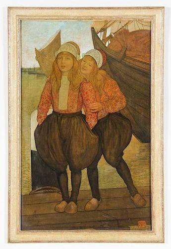 """Nico Jungmann (Dutch, 1872-1935) """"Dutch Girls"""""""